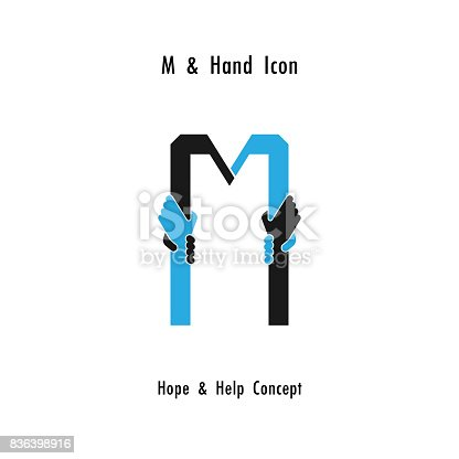 Creative M- alphabet icon abstract and hands icon design vector template.Business offer,partnership,hope,support or help concept.Corporate business and industrial  symbol.Vector illustration