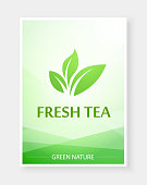 Creative menu for Tea and hot drinks in nature green color. Vector Beautiful menu for restaurant or cafe.