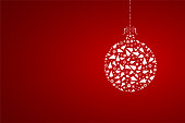 A creative merry christmas bauble design - vector Illustration. An artistic white Christmas bauble composed of several small X'Mas trees, cones, balls, stars, baubles and snowflakes, decoration design elements. Banner - Sign, Christmas,  Copy space, background. Horizontal. Vignetting. The background is flat dark red gradient. The bauble is suspended with a string of dots . The thread is tied in four looped bow. The bauble is placed towards the right in the frame