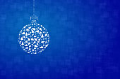 A creative merry christmas bauble design - vector Illustration. An artistic white Christmas bauble composed of several small X'Mas trees, cones, balls, stars, baubles and snowflakes, decoration design elements. Banner - Sign, Christmas,  Copy space, background. Horizontal. Vignetting. The background is self chequered /checkered blue gradient with squares of different size overlapping. The bauble is suspended with a string of dots . The thread is tied in four looped bow. The bauble is placed towards the left in the frame. Ample copy space / copyspace towards the right.