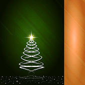 A creative merry christmas tree design - Illustration.The left half band part is dark green stroked self gradient with an artistic Christmas tree drawn with overlapping spirals with a twinkling star at the top and shadow at the bottom. Banner - Sign, Christmas, Drawing - Activity. Copy space, background. Shadow of tree. The right half band part is empty slant stroked gradient of golden yellow. Twinkling and dreamy dots over the tree and around at the bottom denoting snow. Merry X'Mas