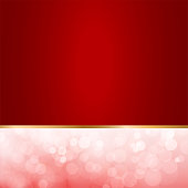 A creative merry christmas vector Illustration  - Golden gradient bordered red band and a light pink glittery band, dividing the frame horizontally . The reddish maroon band taking more width than the glittery pink one..The lower/ bottom band is dreamy pink with bubbly glitters in small, medium and large sizes overlapping. The red band is flat dark red gradient. A thin golden border separates the two bands. Copy space, background. New year celebration backdrop