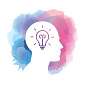 Vector icon of human head with a light bulb on watercolor background. EPS Ai 10 file format.