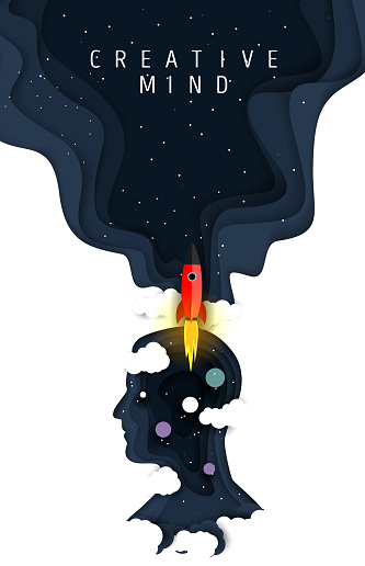 Creative mind poster, vector paper cut illustration