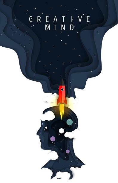 크리에이티브 마인드 포스터, 벡터 페이퍼 컷 일러스트 - 개념 stock illustrations