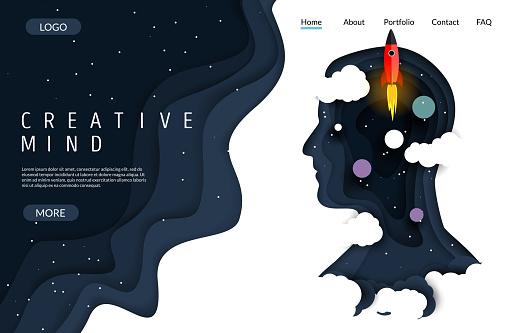 Creative mind vector website landing page design template