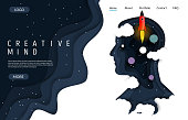 Creative mind vector website template, web page and landing page design for website and mobile site development. Paper cut human head silhouette with night starry sky, rocket and planets.