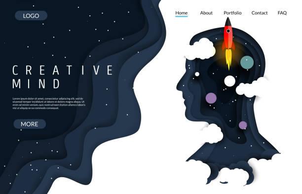 stockillustraties, clipart, cartoons en iconen met creatieve mind vector website landing page ontwerpsjabloon - verbeelding