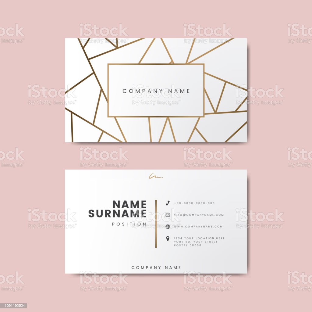 Creative minimal and modern business card design featuring geometric shapes Creative minimal and modern business card design featuring geometric shapes Advertisement stock vector