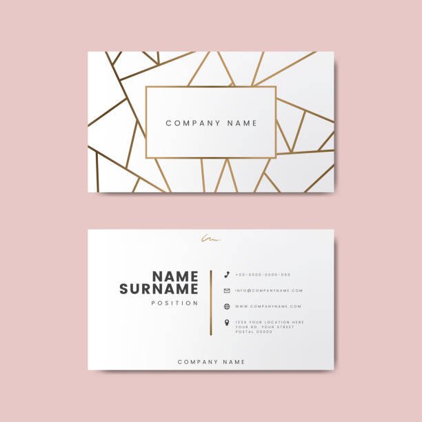 creative minimal and modern business card design featuring geometric shapes - business cards templates stock illustrations