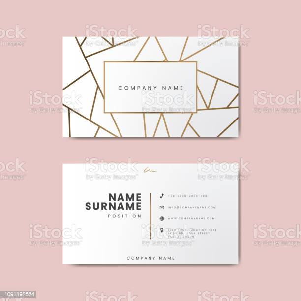 Creative Minimal And Modern Business Card Design Featuring Geometric Shapes Stock Illustration - Download Image Now