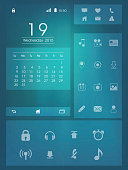Creative mobile screen presentation with different application layouts on shiny blue background.