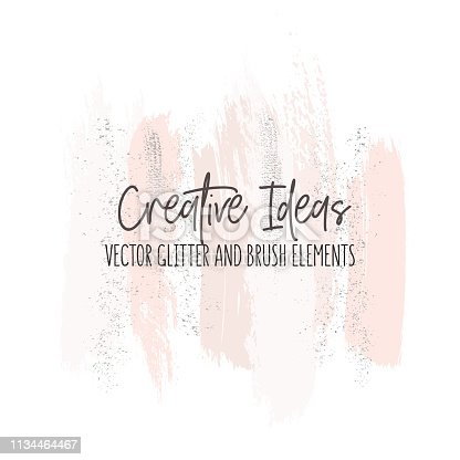 Creative modern brush strokes in pinky gold colors. Vector freehand elements with glitter foil for packaging, greeting card, wedding design. Abstract creative pastel shapes