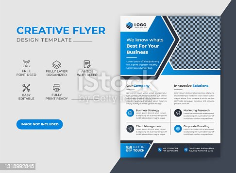 istock Creative Modern Corporate Business  Flyer, Leaflet Design with Blue color scheme Template 1318992845