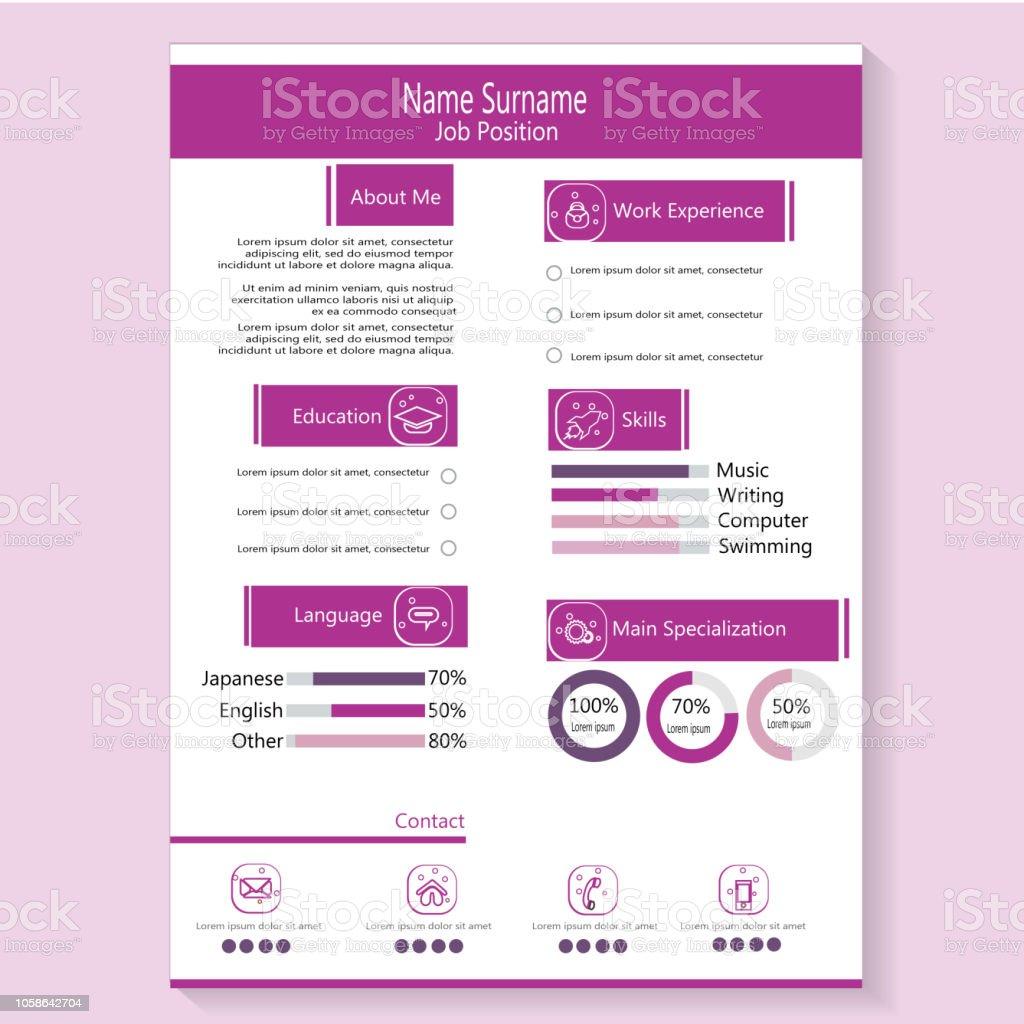 cr u00e9ation moderne cv cv avec infographie template vecteur  u2013 vecteurs libres de droits et plus d