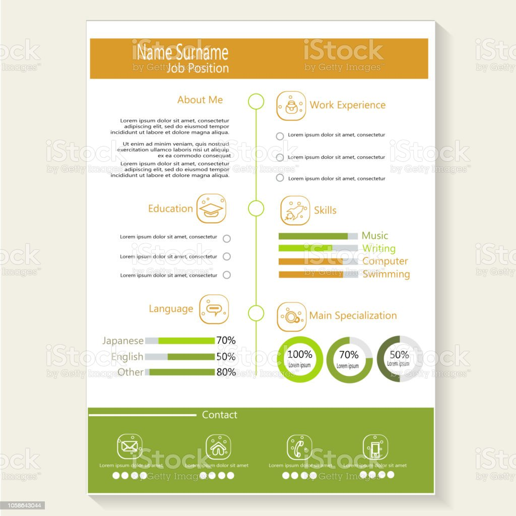 creative modern cv resume with infographic template vector stock