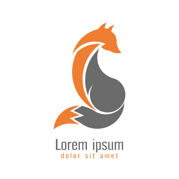 creative modern fox logo design template two tone orange and gray color. symbol wild animal isolated on white background, vector and illustration. - fox stock illustrations