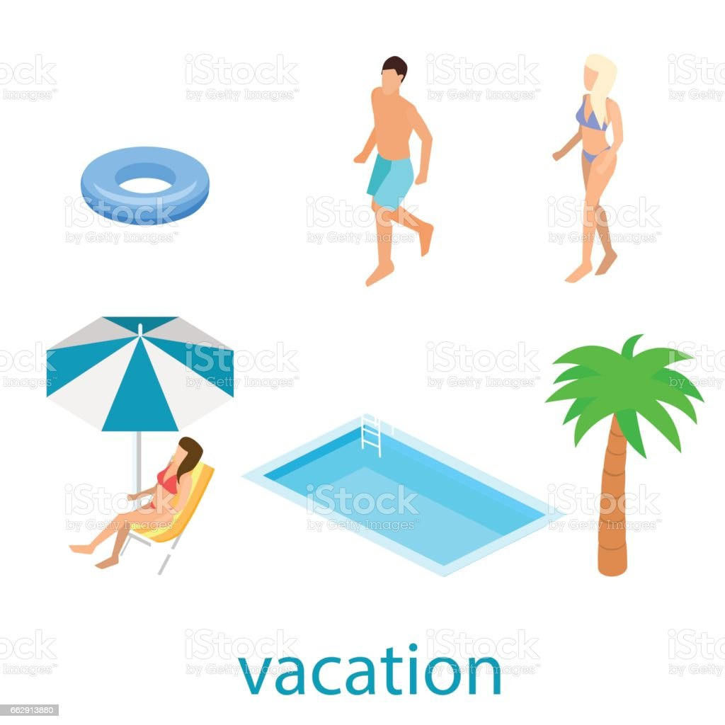 Creative modern isometric design of swimming pool vector art illustration