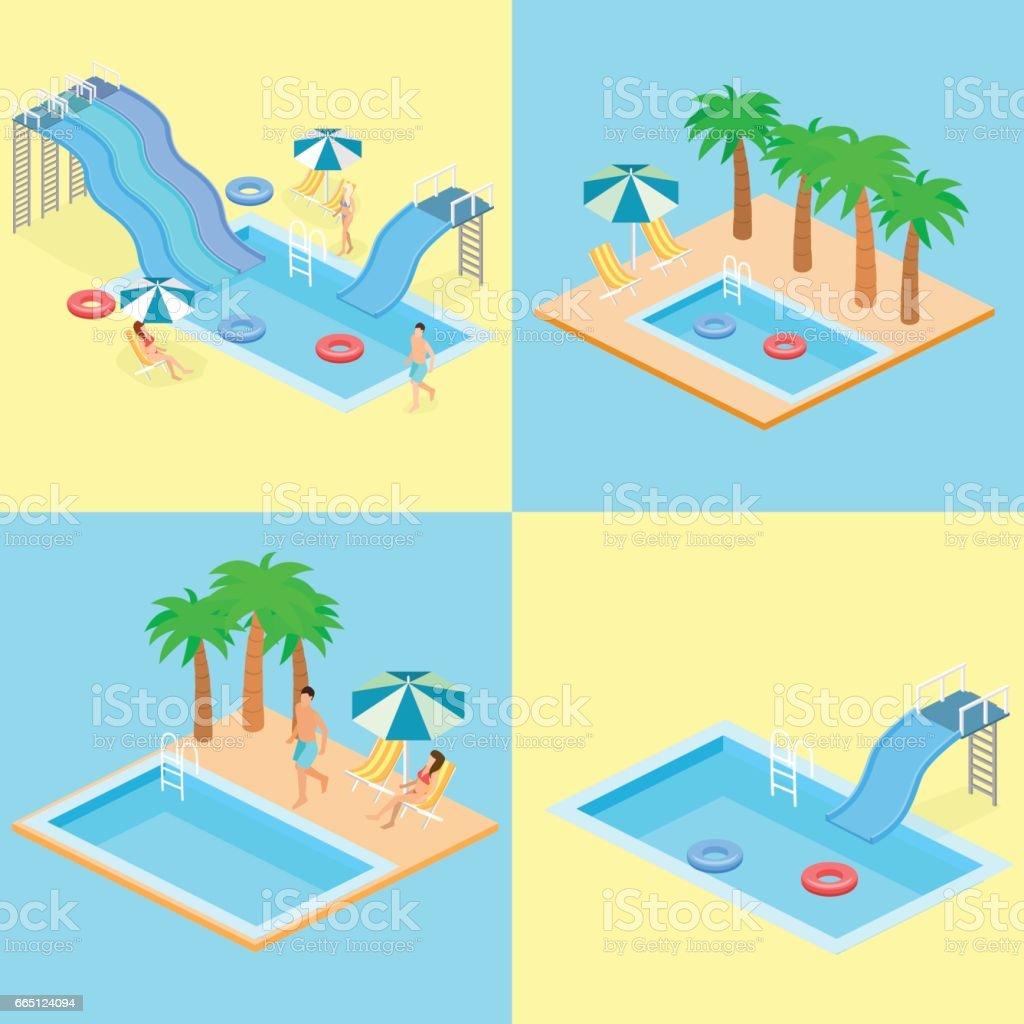 Creative Modern Isometric Design Of Swimming Pool Stock Vector Art