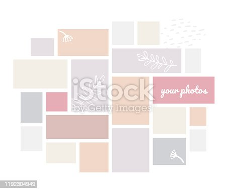 Creative mood board - colorful vector background template on white background. High quality theme for photos in pastel colors. Soft pink, blue, beige and grey squares, frames, shapes, collage design