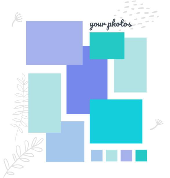 ilustrações de stock, clip art, desenhos animados e ícones de creative mood board - colorful vector background template - fotografia imagem