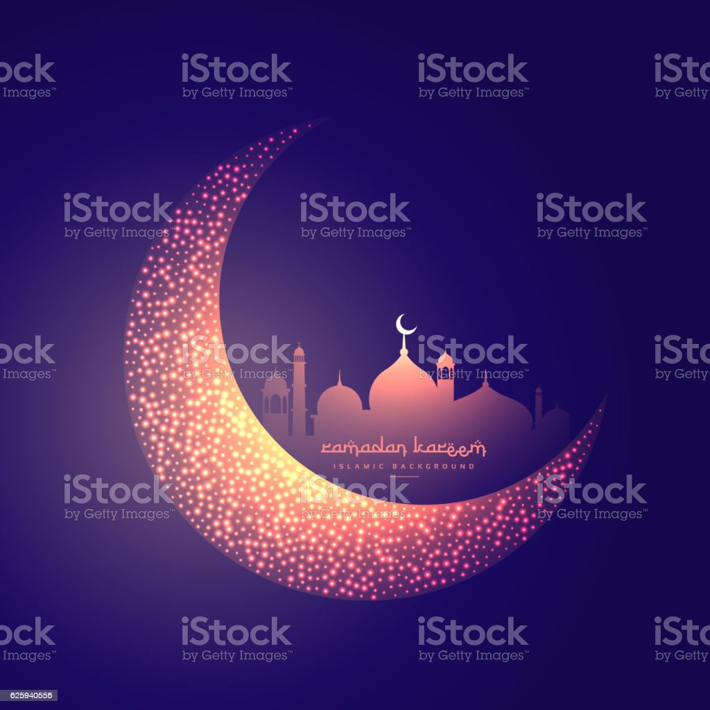 creative moon and glowing mosque design vector art illustration