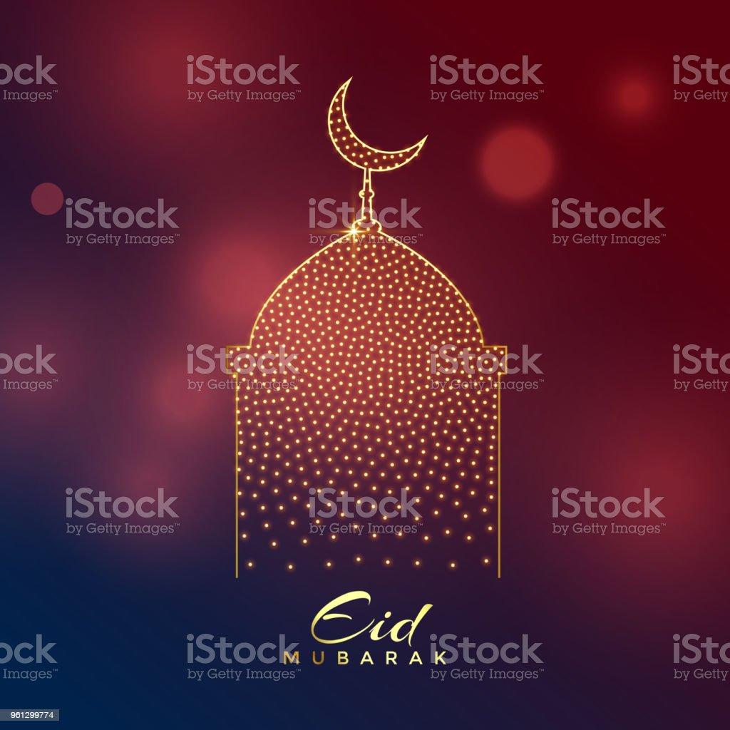 creative mosque design for eid mubarak festival vector art illustration