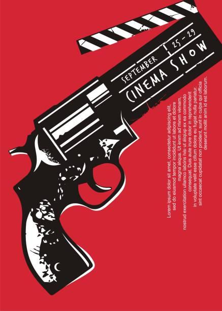 illustrazioni stock, clip art, cartoni animati e icone di tendenza di poster evento film creativo con grafica pistola e clapper board - thriller