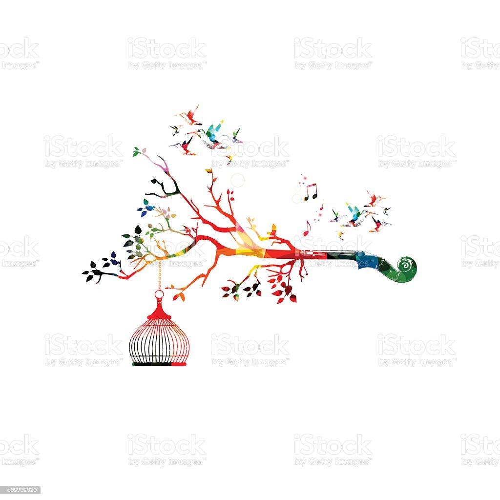 Creative music style template vector illustration, colorful violoncello pegbox vector art illustration