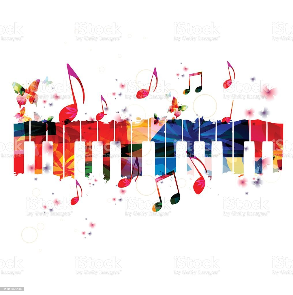 Creative music style template vector illustration, colorful piano keys vector art illustration