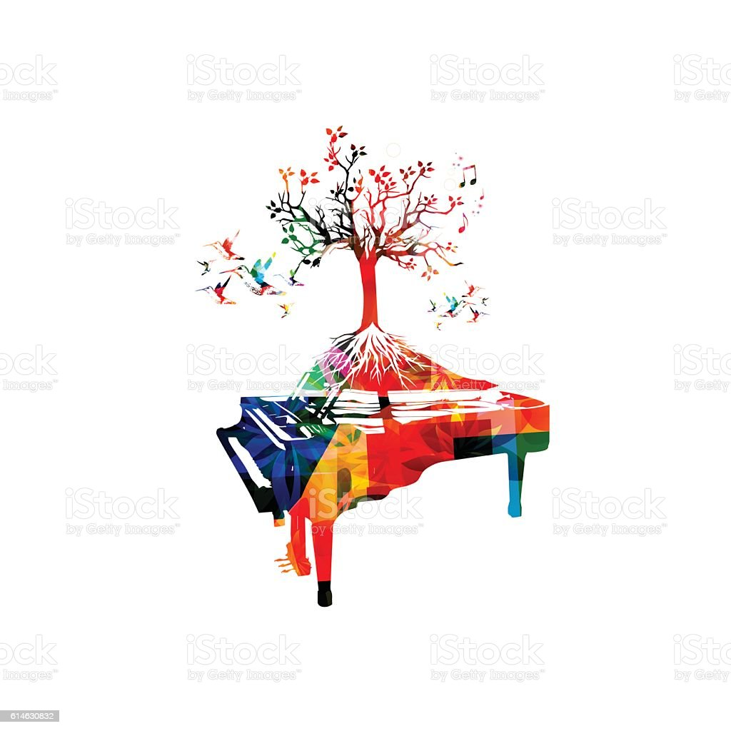 Creative Music Style Template Vector Illustration Colorful Piano