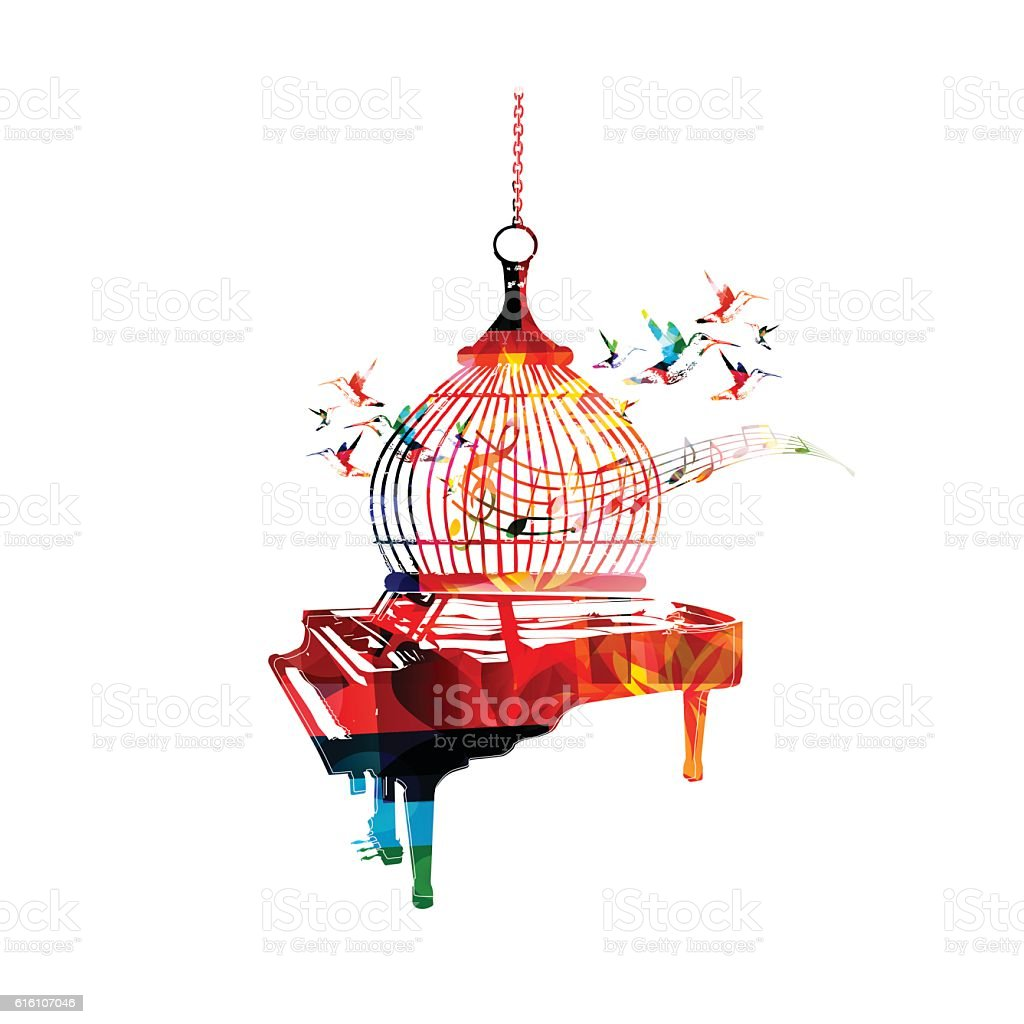 Creative music style template vector illustration, colorful piano vector art illustration