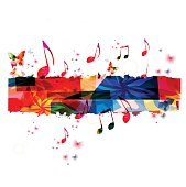 Creative music template vector illustration, colorful music notes