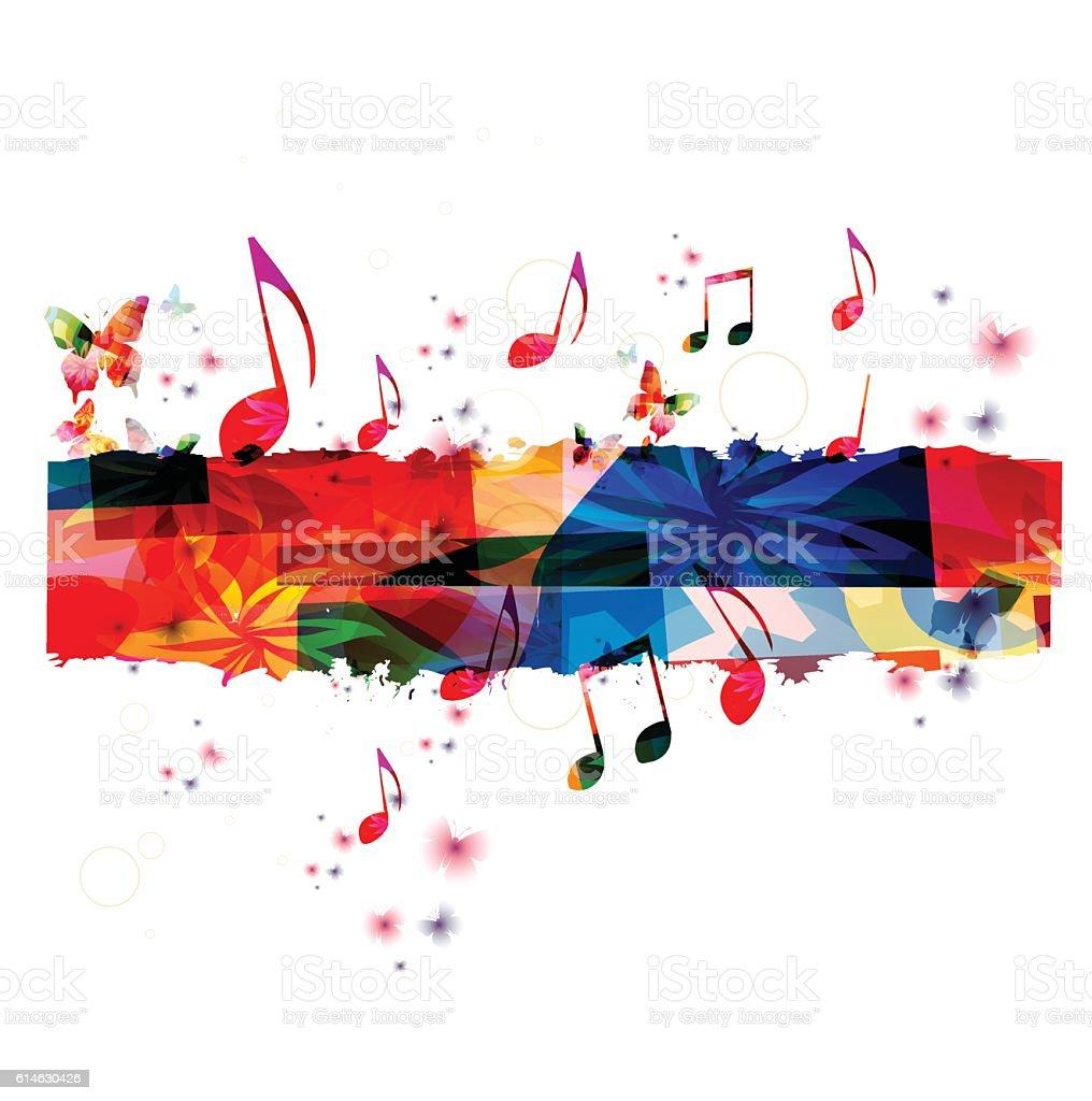 Creative music template vector illustration, colorful music notes vector art illustration