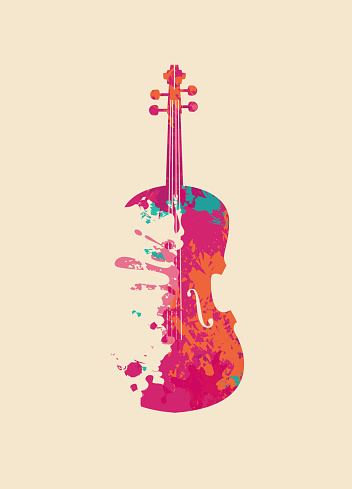 Creative musical image of an abstract violin