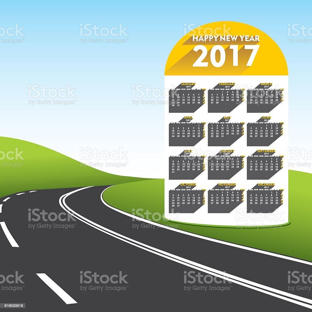 creative new year 2017 calender vector art illustration