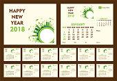 creative new year calendar 2018 template design using go green or eco friendly city concept
