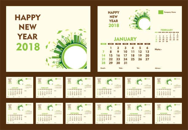 ilustraciones, imágenes clip art, dibujos animados e iconos de stock de diseño de plantilla de calendario creativo año nuevo 2018 - calendario de naturaleza
