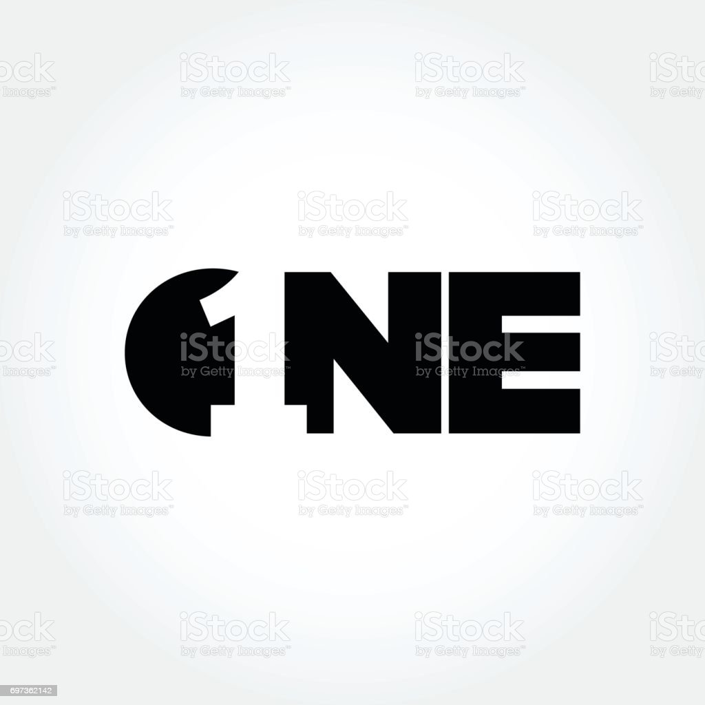 Creative number one design symbol vector art illustration