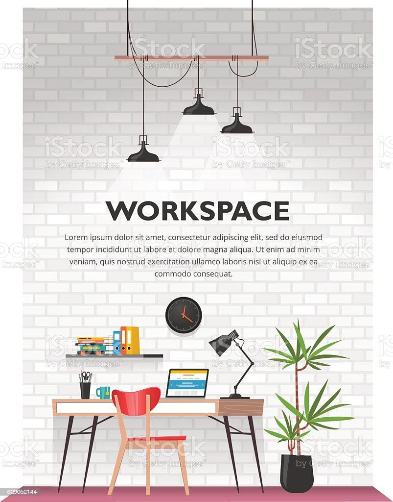 Creative office interior in loft space.