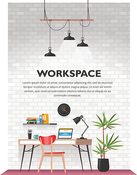 Creative office interior in loft space. vector art illustration