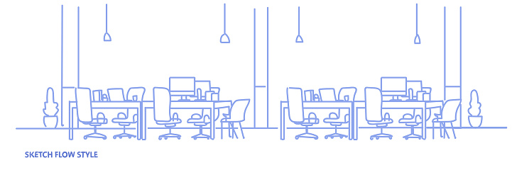 creative office workplace co-working center university campus modern workspace empty no people sketch flow style horizontal