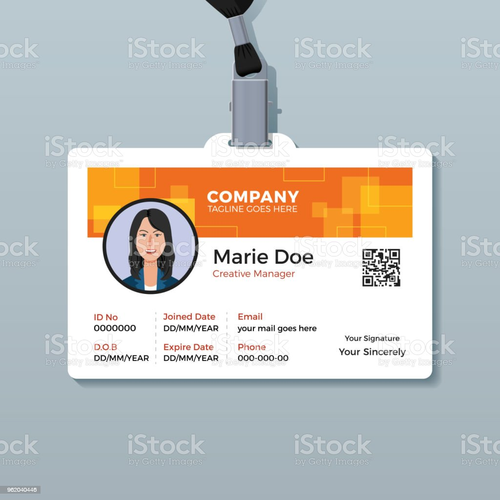 creative orange id card template stock vector art more images of