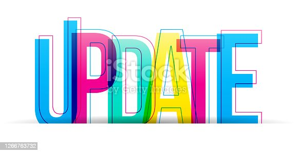 istock Creative overlapped letters of the ''Update'' word 1266763732