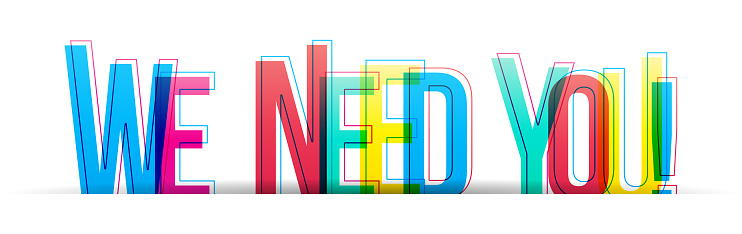 Creative overlapped letters of the ''We Need You'' inscription