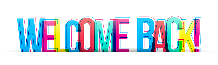 Colorful letters isolated on a white background. Horizontal banner of header for the website. Vector illustration.