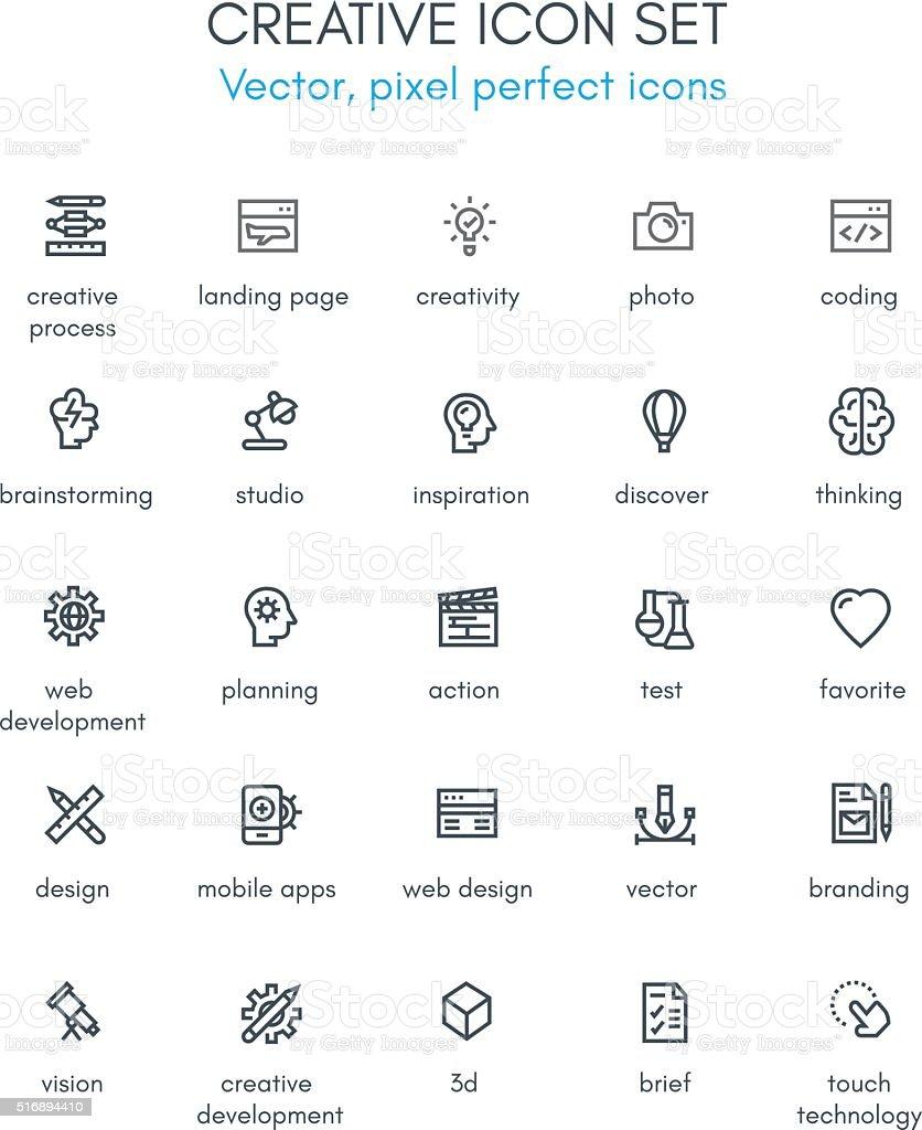 Creative package line icon set. vector art illustration