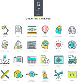 Creative package of line modern color icons