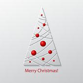 Creative paper Christmas tree. Vector Illustration.