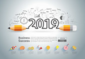 Creative pencil design on drawing charts graphs business success strategy plan ideas concept, New year 2019 calendar cover, typographic inspiration, Vector illustration modern layout template design